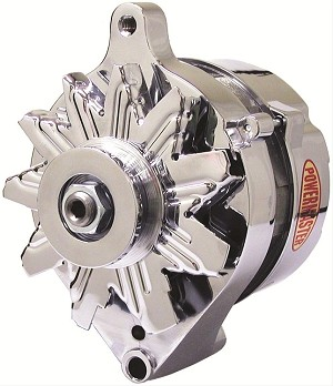 "75 amp Powermaster Chrome Finish Alternator 1975-1977 3"" Mount"