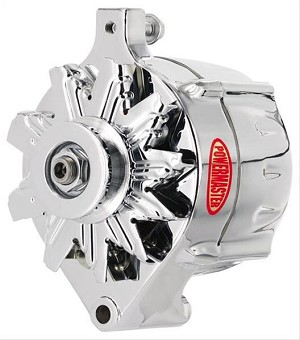"100 amp Powermaster Chrome Finish Alternator 1975-1977 3"" Mount"