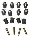 Roof Rack Grommet + Stainless Screw Kit Set of 12
