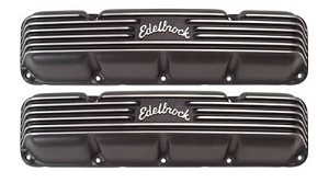 Edelbrock Finned Powdercoated Black Aluminum Valve Covers AMC V8