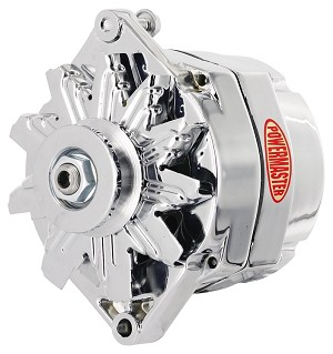 "150 amp Powermaster Chrome Finish Alternator 1966-1975 1"" Mount"